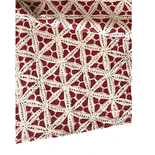 Bandana- Hand Block Brown Floral Print Cotton/ Head Covering