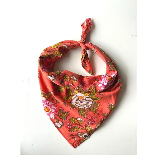 Bandana - Hand Block Pink Floral Print Cotton/ Head Covering