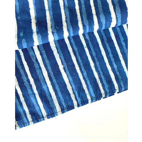 Bandana - Block Print Indigo Stripes Cotton/ Table Napkin