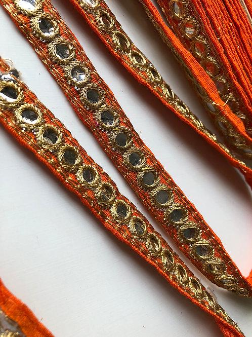 Orange and Gold Mirror Trim, Gypsy Lace Trim, Indian Ethnic Trim, Sari ribbon tr
