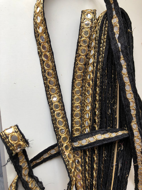 Black and Gold Mirror Trim, Festive Indian Trim, Boho Fashion Trim, Sari border