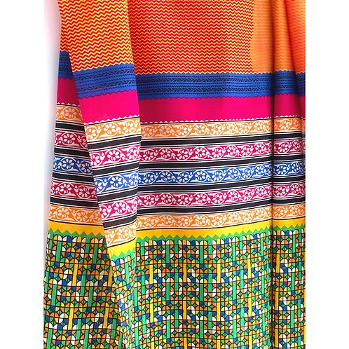 Sarong / Scarf / Wrap Skirt - Orange zigzag print + border