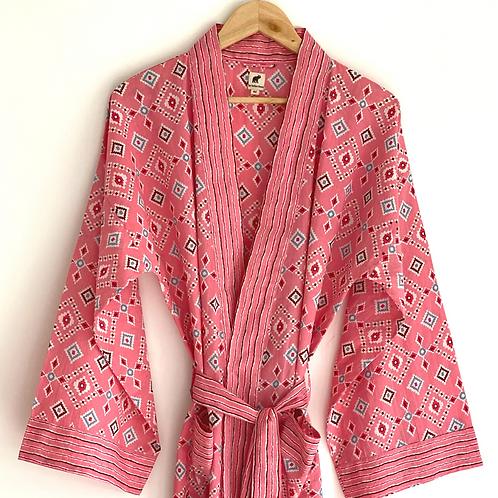 Robe long - Cotton Daily Robe / Resort Beach Wear + bag