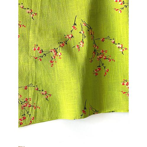 Bandana - Linen Japanese blossom Gold Print / Face Covering