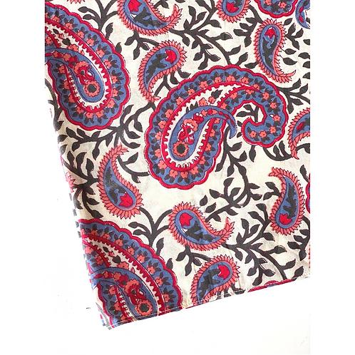 Bandana - Gray pink Paisley Block  Printed Cotton / Headband