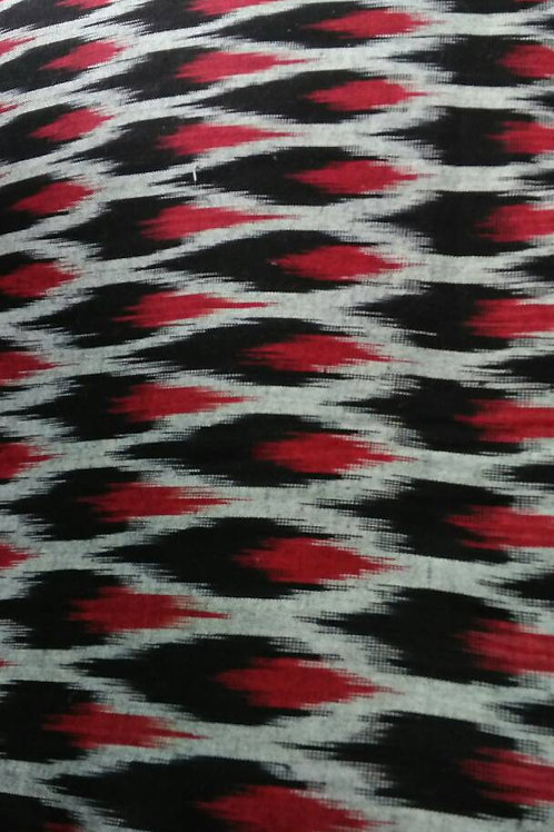 Black Red White Ikat Weave, Indian Cotton, Boho Fabric, Ikat fabric, Folk weave