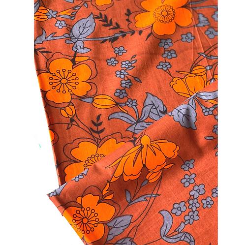 Bandana -  Orange  Floral Block Printed Cotton / Headband