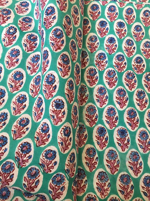Hand Block Print, Indian Cotton Fabric, Hand Stamped Fabric Print, Indian