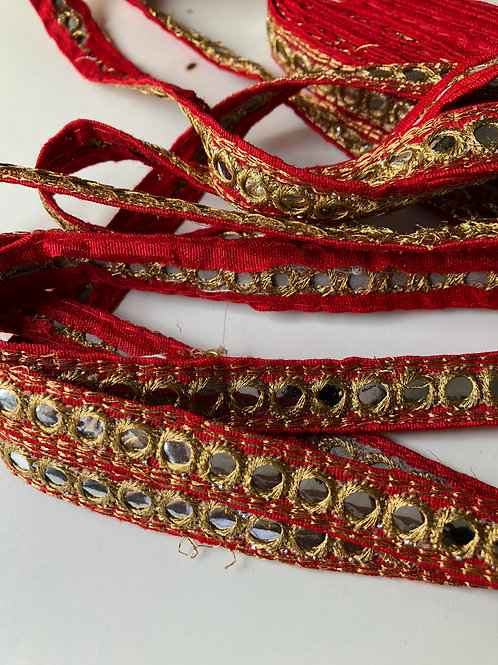Red and Gold Mirror Trim, Golden embroidered lace, Indian sari lace, faux mirror