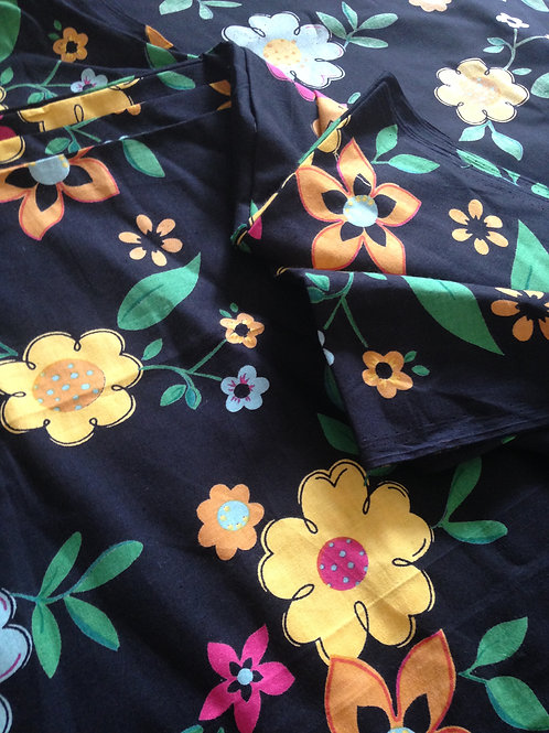 Indian Fabric, Flower Garden Print on Black, Indian Cotton, Floral Print