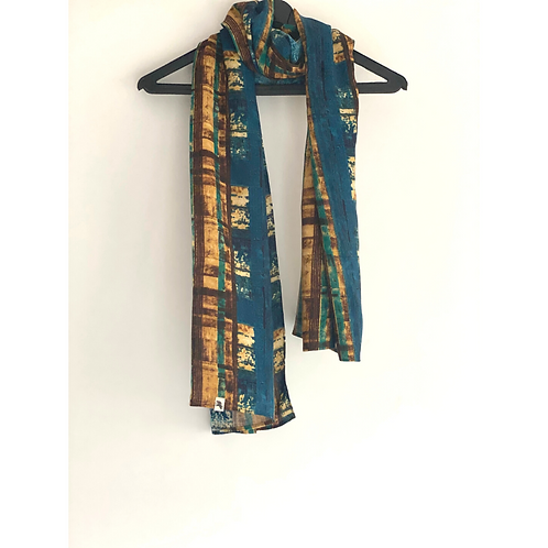 Stole / Scarf - Blue and Gold Viscose Soft Stole