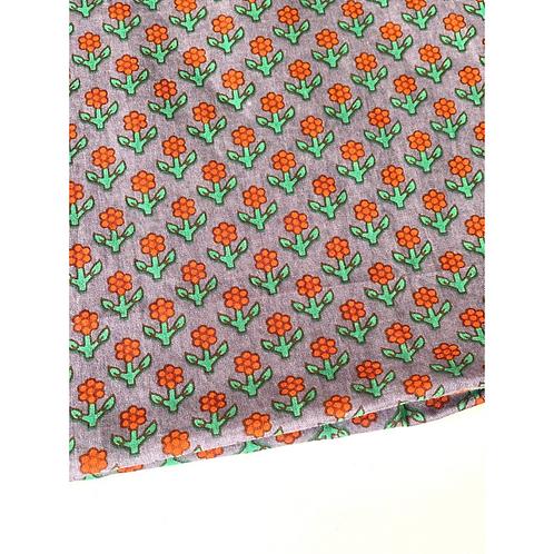 Bandana -  Gray Orang Floral Block Printed Cotton / Headband