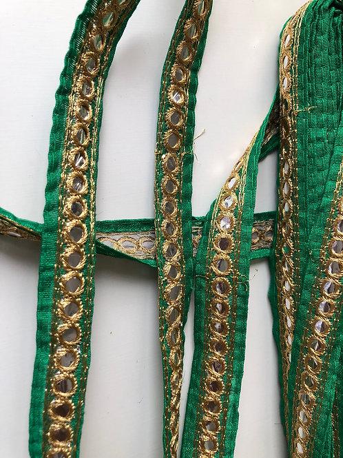 Green and Gold Mirror Trim on Dupion Silk, Decoration trim, Golden embroidered l