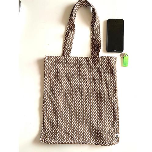 Tote Bag - Large Fabric Bag - Box Gusset - zigzag-  2 pocket