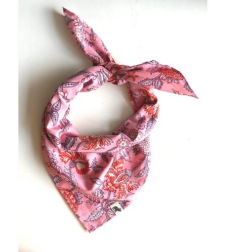 Bandana - Hand Block orange gray Floral Print Cotton/ Head Covering