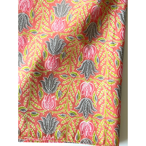 Bandana Orange gray Floral Block Printed Cotton / Headband