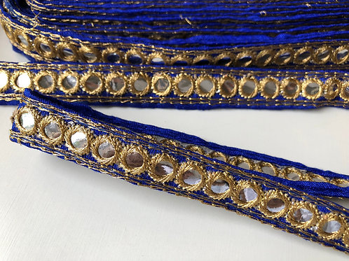 Ink Blue and Gold Mirror Trim, Indian Kutchi Trim, Sari Border Trim ribbon by th