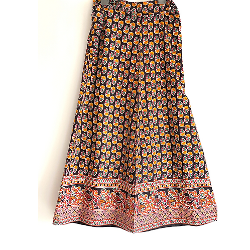 Wrap Skirt - Red block print with border/ wraparound skirt