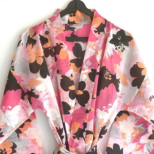 Robe / Kimono  - Pink+ Black Lounge wear + matching bag + mask