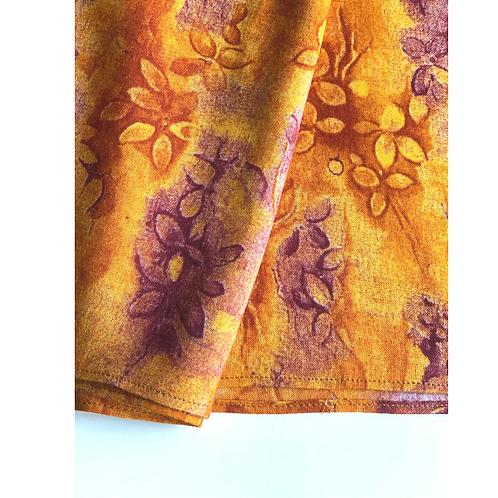 Bandana - Brown Floral Block Printed rayon / Headband
