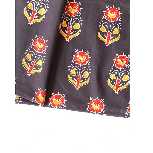 Bandana - black red Floral Block  Printed Cotton / Headband