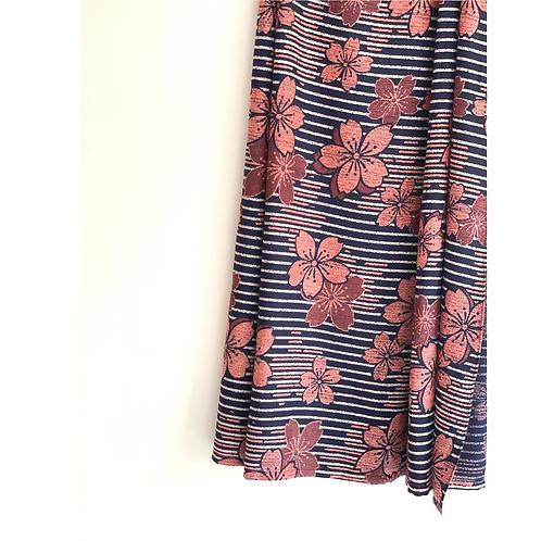 Sarong / Scarf / Wrap Skirt - Black and peach viscose print