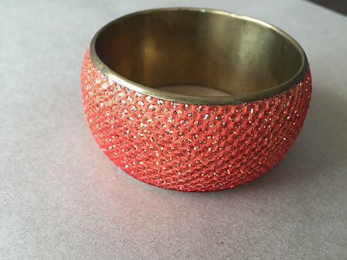 Velvet Metal Bracelet, Orange Indian Bangle, Boho Bangle Jewelry