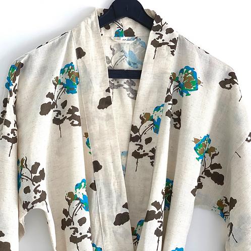 Robe /  Kimono  - Blue Roses Lounge Robe + matching bag + mask