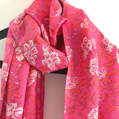 Stole / Scarf - Pink floral rayon linen blend