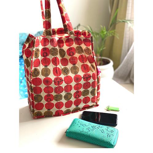 Tote Bag - Large Fabric Bag - Box Gusset - red - 2 pocket