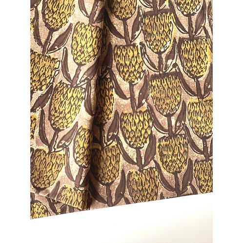 Bandana - Mud Brown Mud yellow  Printed Cotton / Headband