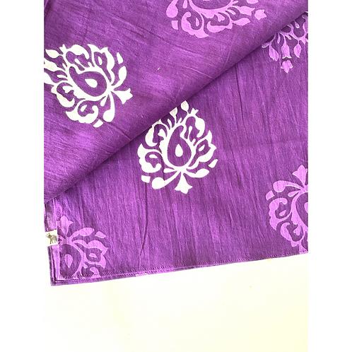 Bandana - Block Print purple paisley flower Cotton/ Napkin
