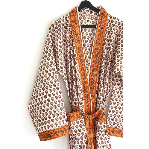 Robe / Kimono  - Border Block Print / Resort Beach Wear + bag