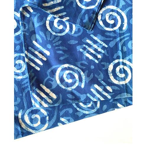 Bandana - Block Print Indigo hand drawn print / Napkin