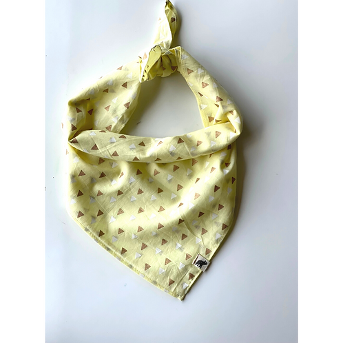 Bandana  Triangle Gold  Block Print Cotton/ Headband