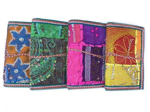 Handmade Paper Journals - Indian Sari - set of 6 - M (6x4)