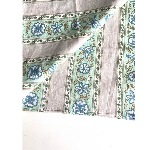 Bandana - green Gray stripe print Cotton/ Table Napkin