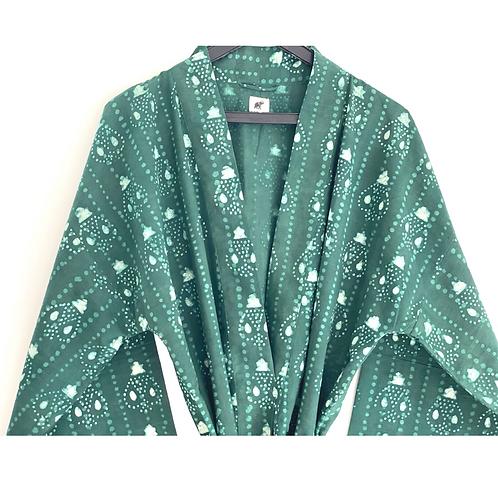 Robe / Kimono - Green Batik Lounge Robe / Lounge Resort Wear