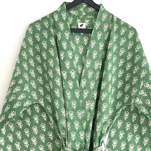 Robe / Kimono - Green Peace Block Print/ Resort + matching bag