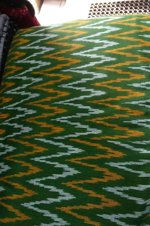 Green Yellow White Ikat Weave, Indian Cotton, Boho Fabric, Ikat fabric, Fol
