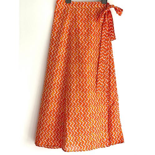 Wrap Skirt -  block print with border/ wraparound skirt