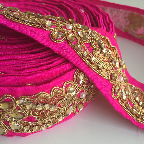 Fuchsia Lace Trim, Golden embroidered lace, Indian sari lace, stone embellished