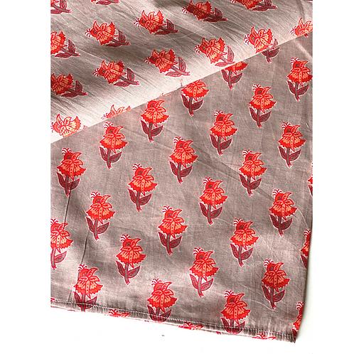 Bandana - Block Print beige red Floral Buti Cotton/ Napkin