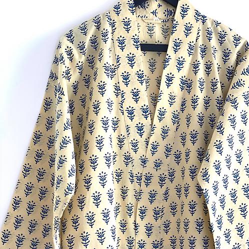 Robe  / Kimono  - Hand Block Printed Cotton Robe / Spa Cover up