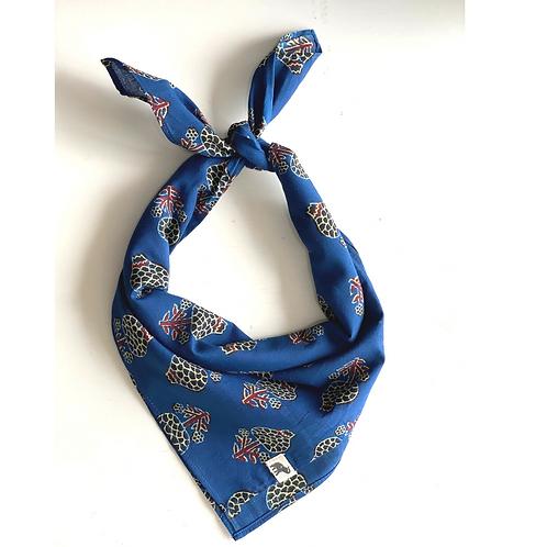 Bandana -  Blue Pomegranate Block Printed Cotton / Headband