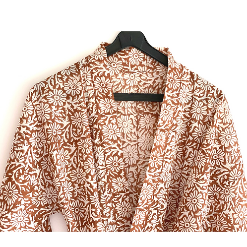Robe  / Kimono -  Brown Block Print Robe + matching bag + mask