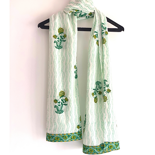 Stole / Scarf - Floral Green with border Block Printed