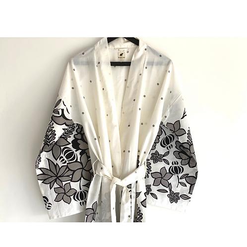 Robe / Kimono  - White Grey Charcoal floral Print / Beach Wear