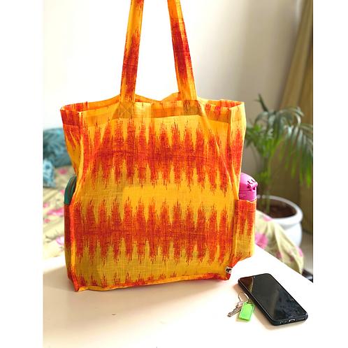 Tote Bag - Large Fabric Bag - Box Gusset - flame - 2 pocket