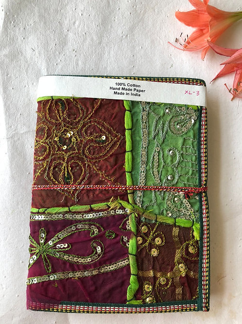 Embroidred Sari Cover Journal, Fabric covered notebook, Unique Cover Journal, On